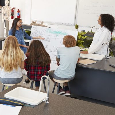 Schoolgirl presenting in front of science class, high angle