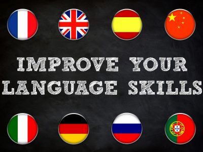 improve your language skills - blackboard illustration